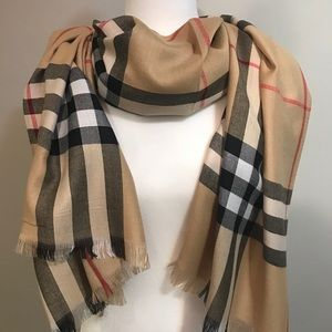Accessories - Beige Plaid Scarf New With Tags